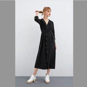 Zara black long belted dress size XL